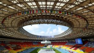 A picture taken on 7 August, 2013, shows a general view of Luzhniki stadium during a rehearsal of opening ceremony in Luzhniki stadium in Moscow, ahead of the world athletics championships which will take place in Moscow from August 10 to August 18.