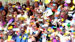 Crowd with confetti