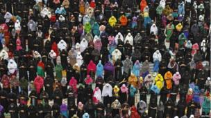 Muslim women offer prayers during Eid al-Fitr at a school ground in the southern Indian city of Chennai.