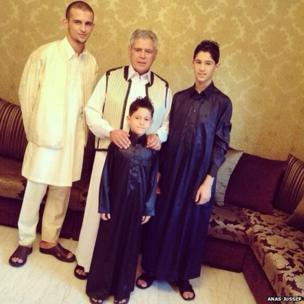 Libyan males in traditional dress for Eid. Photo: Anas Jussef