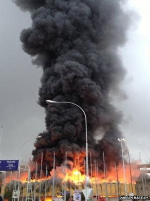 Fire at Jomo Kenyatta airport, Kenya. Photo: Darren Bartley