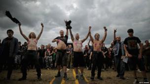 Heavy metal fans at Bloodstock