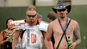 Heavy metal fans in sunglasses at Bloodstock