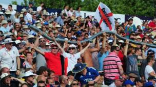 England cricket fans at the fourth Ashes Test match at Chester-le-Street