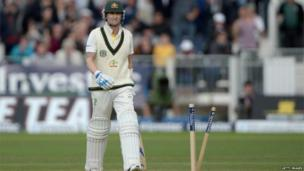 Australia captain Michael Clarke after being bowled for 21 by Stuart Broad at Chester-le-Street