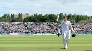 Ian Bell leaves the field after his innings of 113 in the Ashes Test match at Chester-le-Street