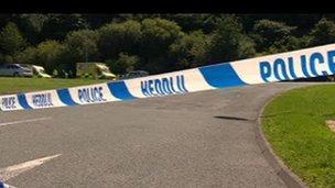 Police cordon at scene on Sunday
