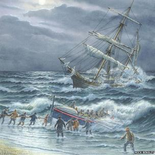 Painting of Ida rescue