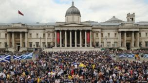 Scotland fans gather in Trafalgar Square