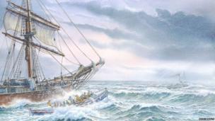 Painting of Liburnia rescue March 1905, Shoreham