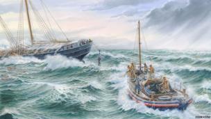 Rescue of Danish schooner Vega near Beachy Head