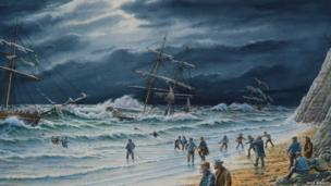Painting of Black Rock rescue