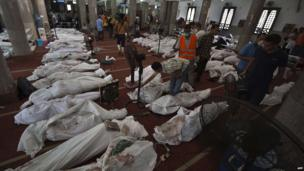 Bodies on the floor of Cairo's Eman mosque, 15 August