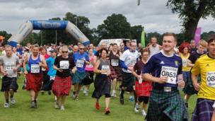 Runners wearing kilts