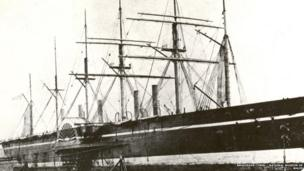 The Great Eastern, Brunel's last project and a huge commercial failure. Here berthed at Milford Haven, waiting to be broken up © Amgueddfa Cymru – National Museum of Wales