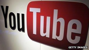 YouTube logo in an office
