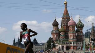 Edna Ngeringwony Kiplagat of Kenya runs through the streets of Moscow in the women's marathon during the IAAF World Athletics Championships - Saturday 10 August 2013