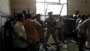 Egyptian army inside mosque (17 August 2013)