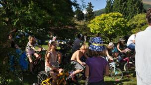 Creating energy from bikes at Wales' Green Man Festival in the Brecon Beacons