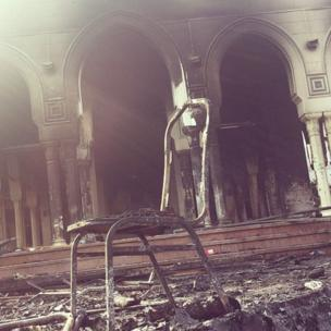 Damaged chair in Rabaa Adawiyya mosque. Photo: Abdullah Alhussainy