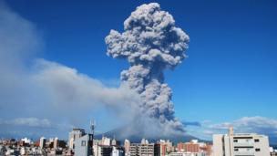 Smoke rises from Mount Sakurajima in Kagoshima city on the southern Japanese island of Kyushu