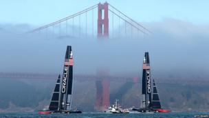 Oracle Team USA practices before race two of the Louis Vuitton Cup finals on August 18, 2013 in San Francisco, California.