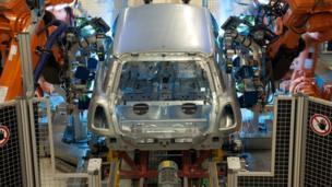 Robots bolting doors onto a Mini car
