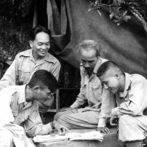 Picture dated 1950 of Vietnamese President Ho Chi Minh (2nd-R, 1890-1969), the founder of the Vietnam Workers' Party, and General Vo Nguyen Giap (background L, smiling) during a military campaign in Vietnam.