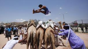 A Bedouin man jumps over camels during the Sanaa Summer Festival in Yemen