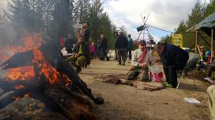 Environmental protesters gather near the site of a proposed iron ore mine in Jokkmokk, Sweden.