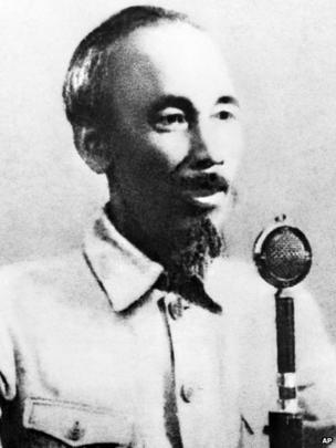 Picture taken in 1945 of Ho Chi Minhreading the proclamation of Independence and declaring the foundation of the Democratic Republic of Vietnam at a meeting of over 500,000 people in Ba Dinh Square in Hanoi.