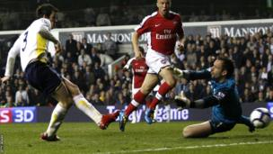 Gareth Bale scores in 2010 against Arsenal