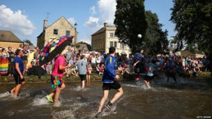 Football on the River Windrush, Bourton-on-the-Water