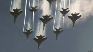 The Russian Knights aerobatic tem performs at a show near Moscow