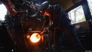 Ken Plant stokes boiler
