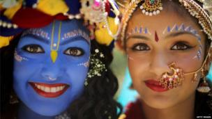 Laxmipriya Patel and Mohini Patel during the Janmashtami Hindu Festival at Bhaktivedanta Manor, 2013