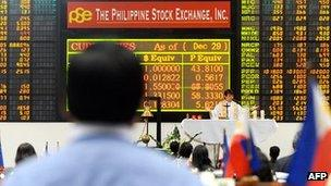 Trader looking at a stock market board in Philippines