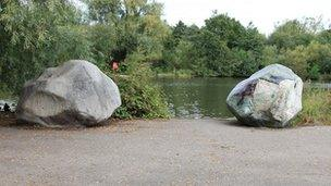 Two Stones by Antony Gormley at Singleton Lake