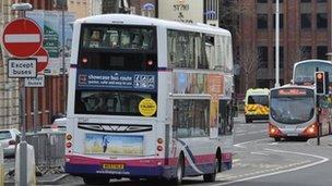 Buses in Old Market, Bristol