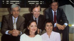 Sir David Frost with his TV-am co-presenters