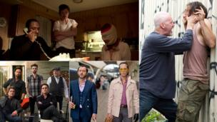 Clockwise from top left: Life of Crime, McCanick, Dom Hemingway, The Art of the Steal