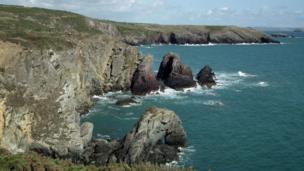 The coastline at St Davids, Pembrokeshire,