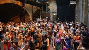 People dancing at Village Underground in Shoreditch