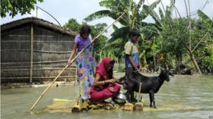 Villagers travel on a makeshift raft with their goat through a flooded area in Terasia Diara in the eastern Indian state of Bihar.