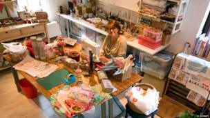 Sophie Tilley at work in her studio in Llanrhychwyn