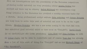 Document from Ned Sherrin on 27 February 1962