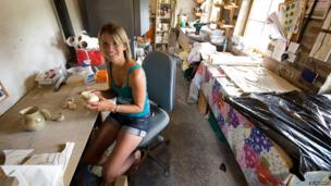 Victoria Crompton at her studio Dolywern, Llangollen. During Helfa Gelf her studio will relocate to Glyn Wylfa, Chirk