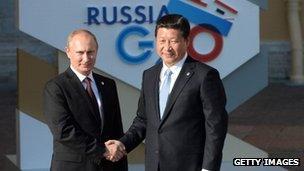 Russian President Vladimir Putin with China's Xi Jinping