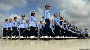Pakistan Air Force cadets take part in a ceremony
