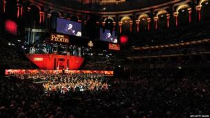 This pictures shows a general view as US conductor Marin Alsop conducts the orchestra at the Royal Albert Hall in west London on September 7, 2013 during the Last Night of the Proms